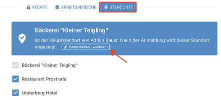 9 > Verwaltung > Account > Benutzer - Hauptstandort wechseln